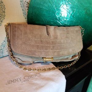 Jimmy Choo Snakeskin Trimmed Shoulder Bag